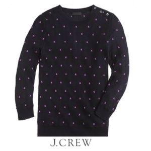 J. Crew Italian Cashmere Navy Purple Dot Sweater